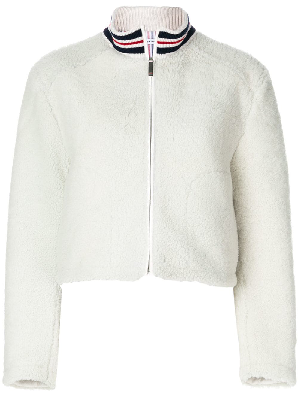 Thom Browne Funnel Neck Zip Up Jacket In Dyed Shearling In White