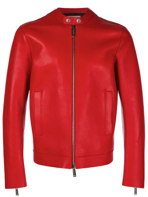 Dsquared2 Collarless Jacket In Rosso