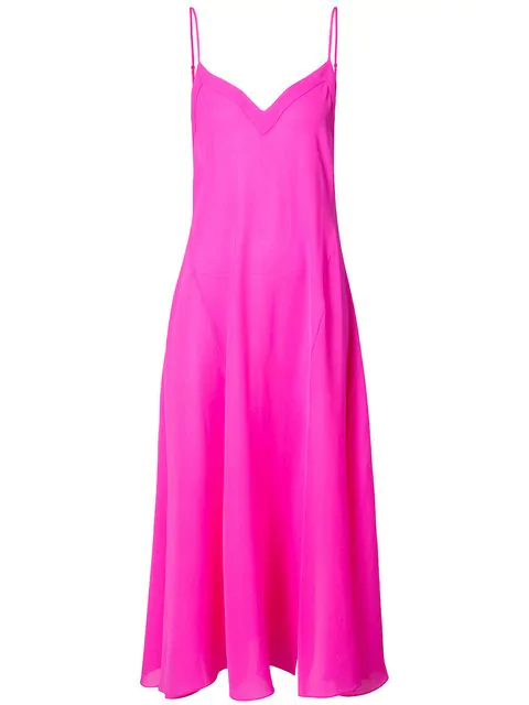 Fleur Du Mal Flared Long Nightdress In Pink