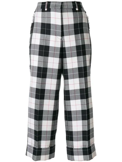 Thom Browne Sack Trouser With Fray In Large Buffalo Check Wool/ Cotton Sable - Blue