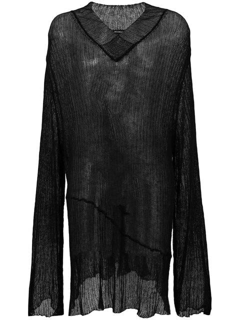 Ann Demeulemeester Ribbed Long-line Sweater