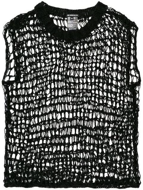 Ann Demeulemeester Open-knit Vest Top - Black
