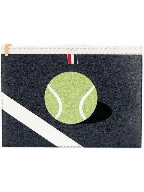 Thom Browne Medium Zipper Document Holder (35x25 Cm) With Tennis Ball Intarsia In Pebble Grain & Calf Leather