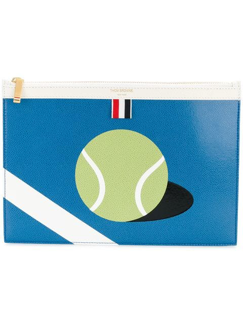 Thom Browne Small Zipper Tablet Holder (29.5x20cm) With Tennis Ball Intarsia In Pebble Grain & Calf Leather In Blue