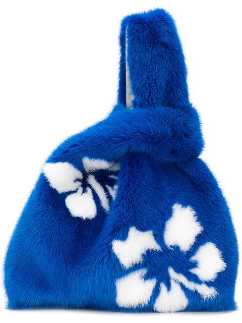 Simonetta Ravizza Furrissima Hibiscus Tote In Blue