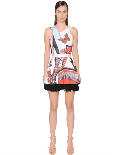Just Cavalli Printed Viscose Jersey Dress In Multicolor