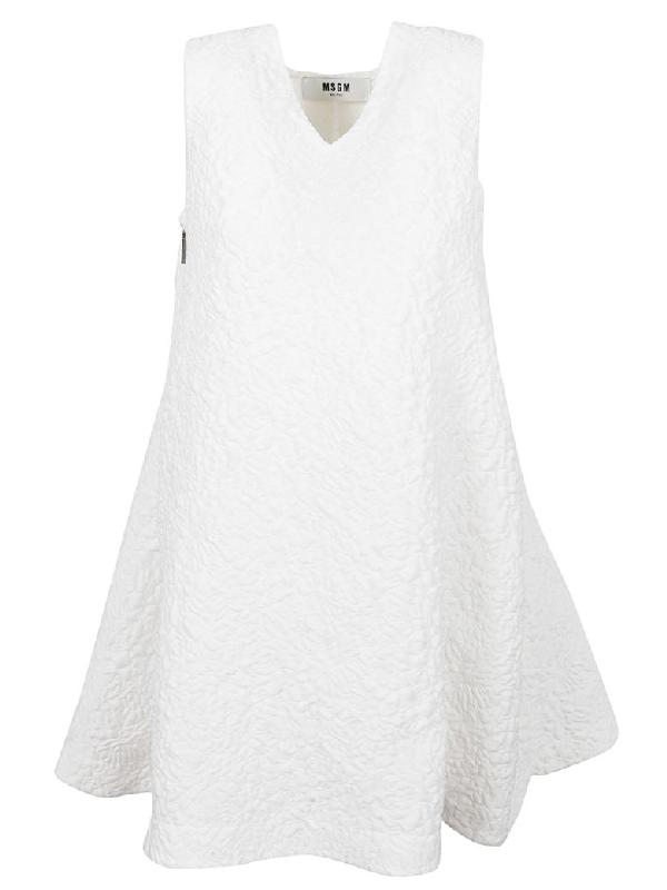 Msgm White Fabric Dress In Bianco