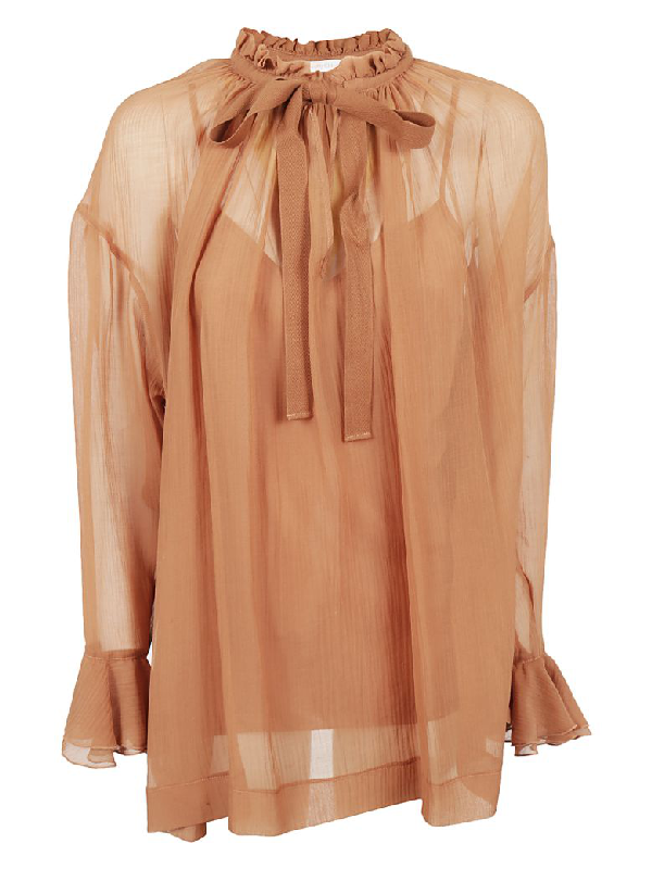 See By ChloÉ See By Chloe Lace Top In Amber Brown Nr26o