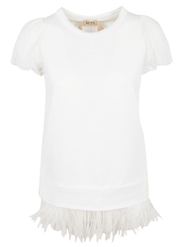 N°21 Fringe Detailed T-shirt In White