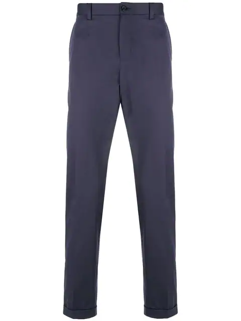 Dolce & Gabbana Cropped Straight Leg Trousers In Blue