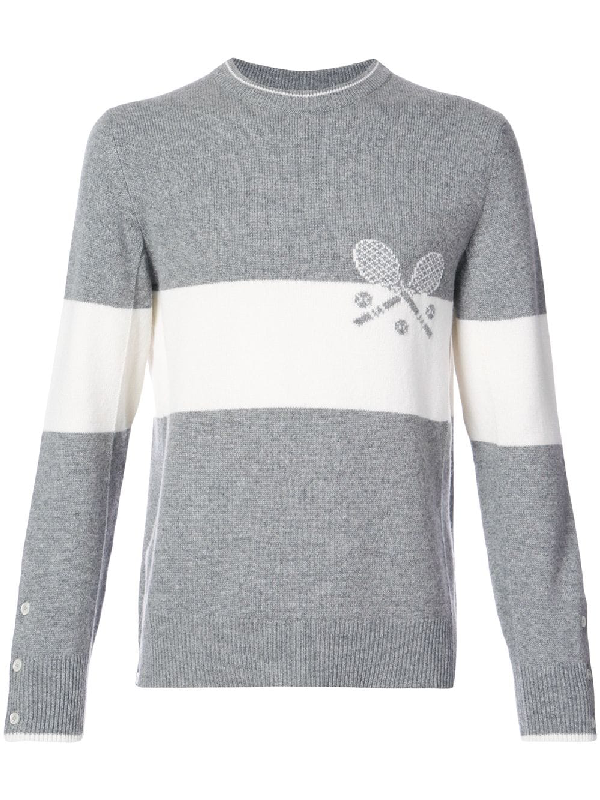 Thom Browne Crewneck Pullover With Striped Tennis Icon In Cashmere