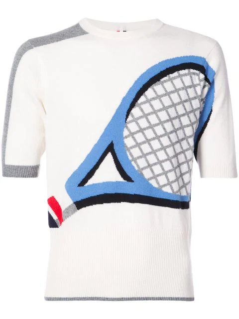 Thom Browne Crewneck Tee Shirt With Tennis Racket Intarsia In Cashmere In White
