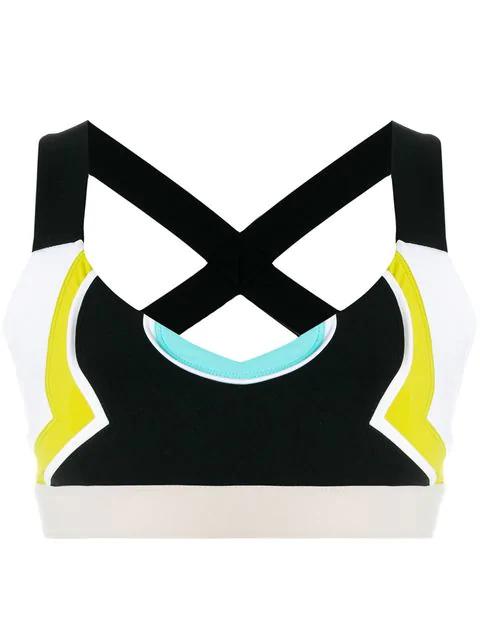 No Ka'oi Color Block Cropped Top In Multicolour