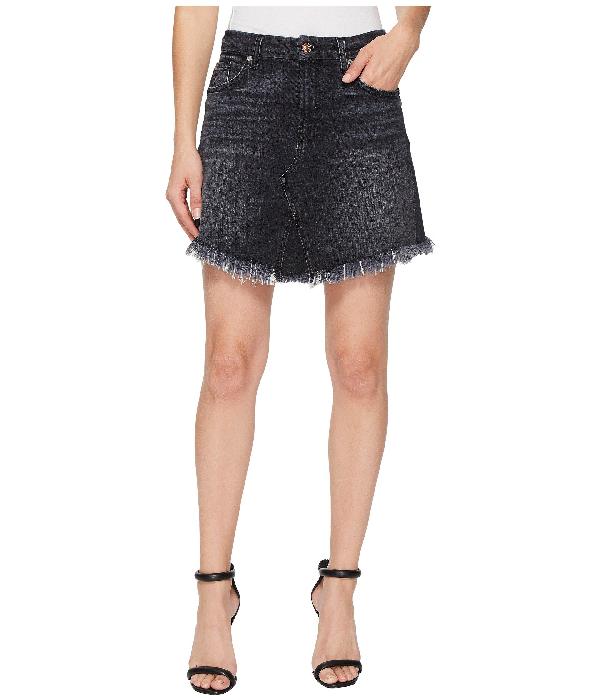 7 For All Mankind Mini Skirt W/ Scallop Raw Hem In Vintage Bedford Black 3, Vintage Bedford Black 3