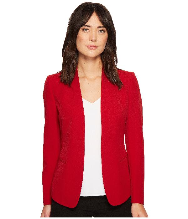 Anne Klein Crepe Cardigan Jacket In Titian Red