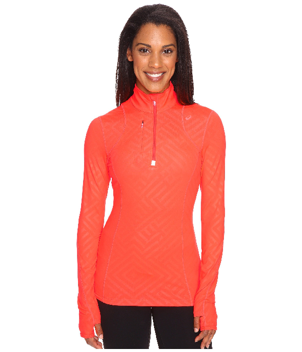 Asics Thermopolis 1/2 Zip In Fiery Flame Maze