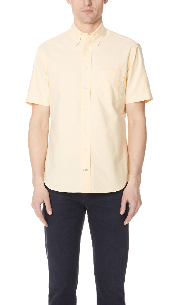 Gitman Vintage Short Sleeve Overdye Oxford Shirt In Yellow