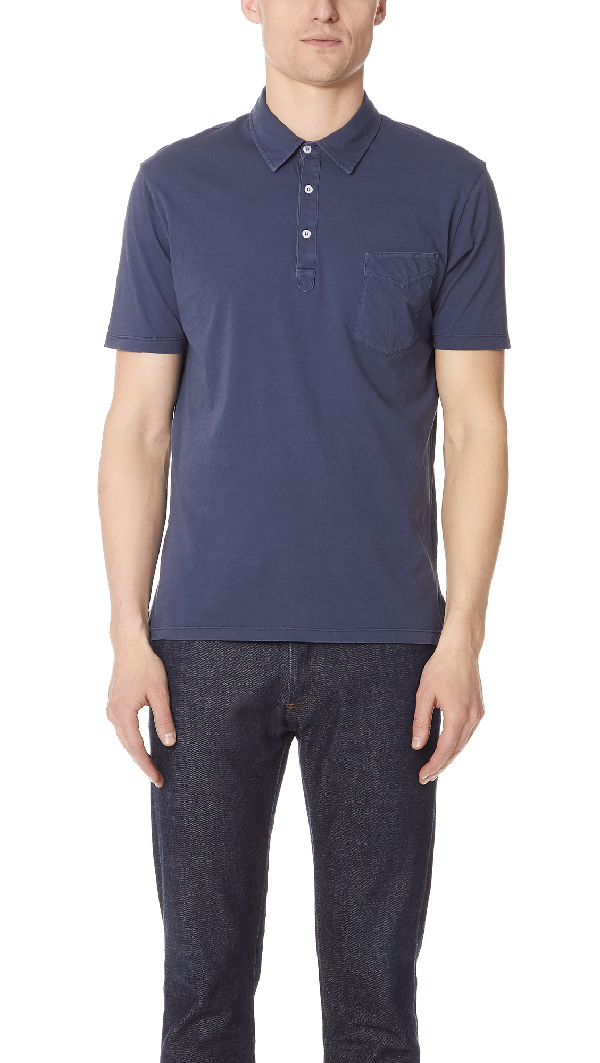 Officine Generale Bd Cotton Polo-shirt In Blue