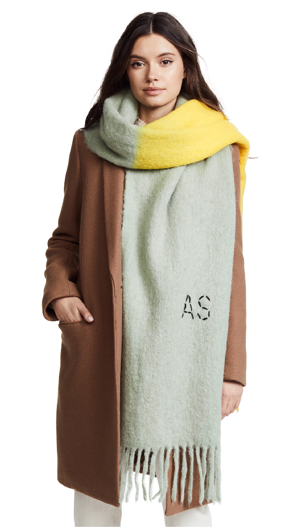 Acne Studios Kelowna Dye Scarf In Lemon/grey