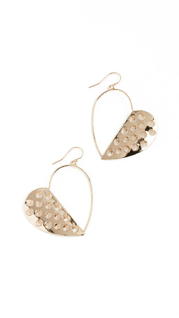 Alexis Bittar Half Heart Grater Wire Earrings In Gold