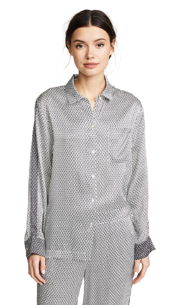 Asceno Pyjama Top In Monochrome Geo