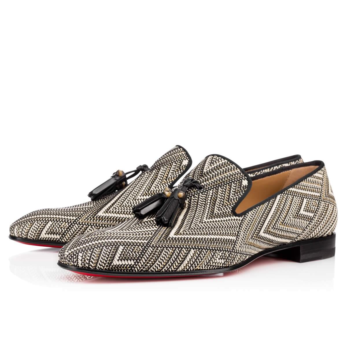 cc61cb30e16 Dandelion Tassel Flat Black-White/Corne 2 Rafia - Men Shoes - Christian  Louboutin in Black/White