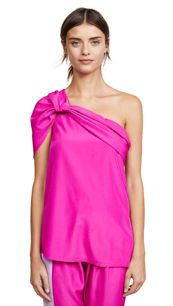 Baja East Drape Top In Fuchsia