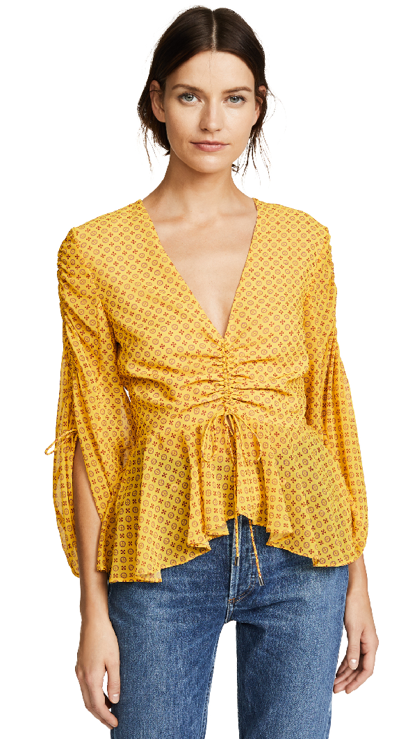 C/meo Collective Light Up Top In Marigold Stamp