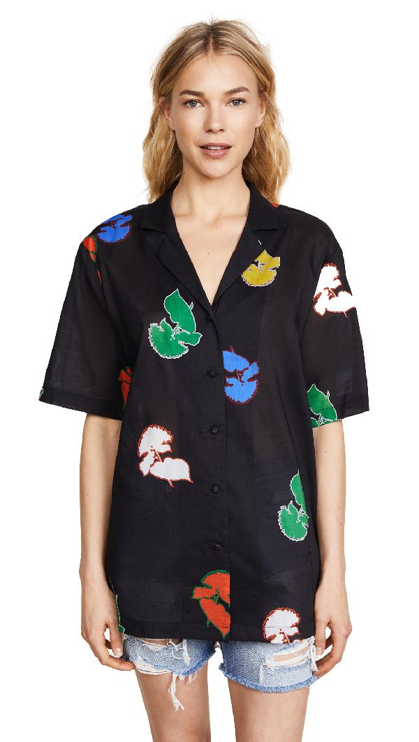 Cynthia Rowley Getaway Cabana Shirt In Rainbow Poppy