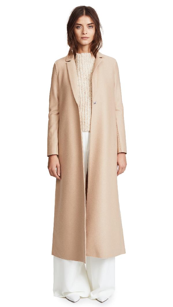 Harris Wharf London Single Breasted Light Wool Coat In Caramel