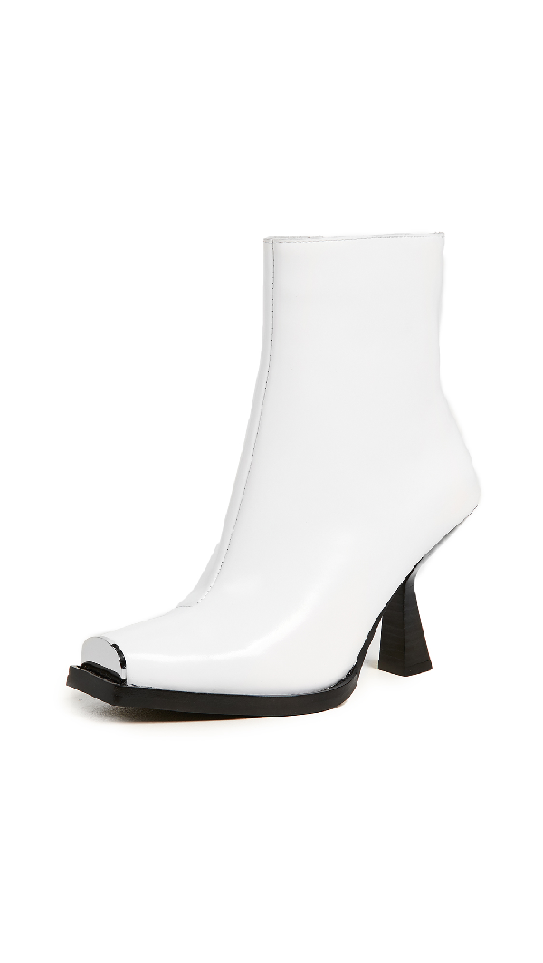Jeffrey Campbell Hiatus Square Toe Boots In White Box