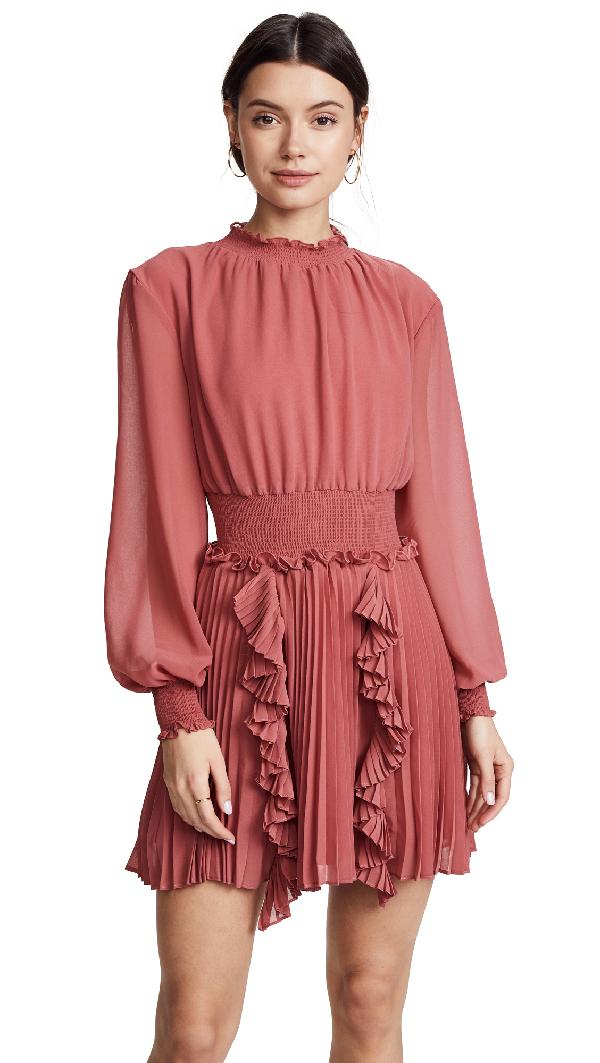 Keepsake Say Something Pleated Mini Dress In Mineral Red