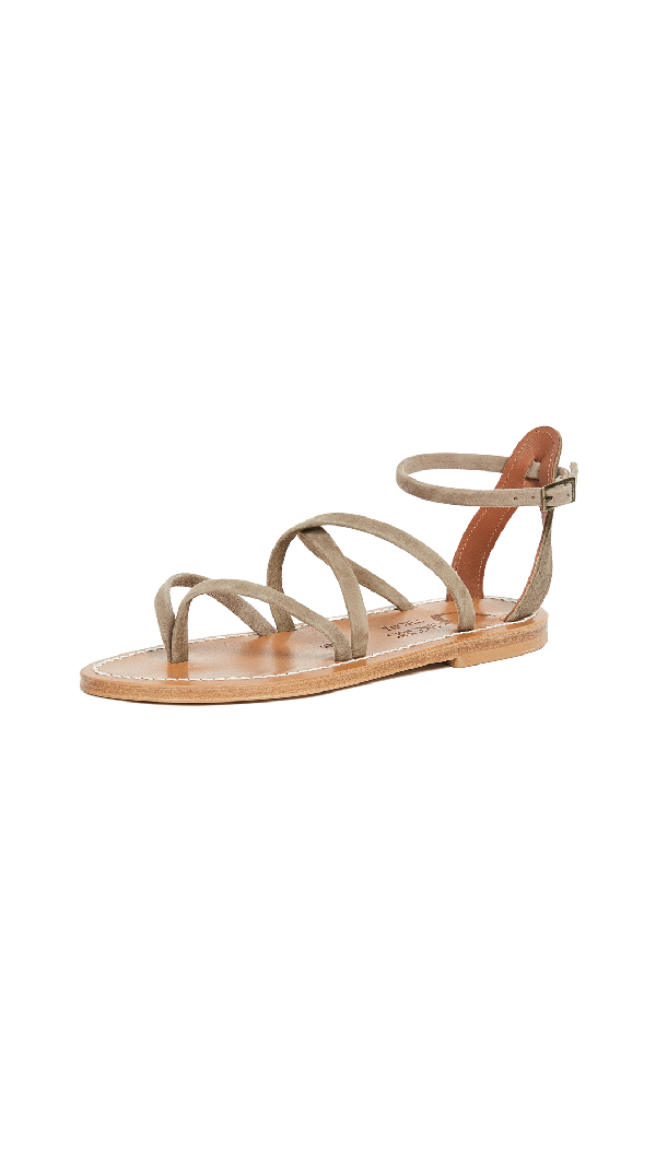 K.jacques Epicure Sandals In Velours Fango