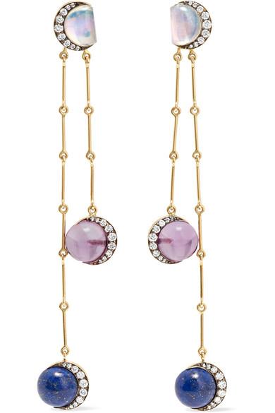 Noor Fares Planet 18-karat Gold Multi-stone Earrings