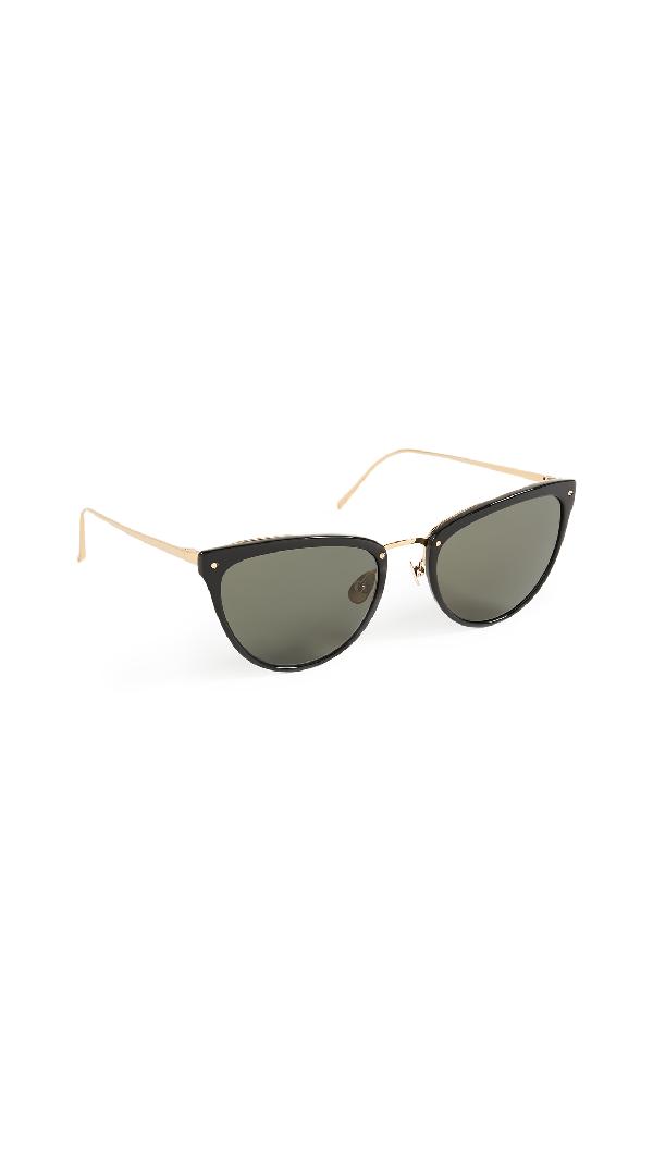 Linda Farrow Luxe Cat Eye Sunglasses In Black/grey