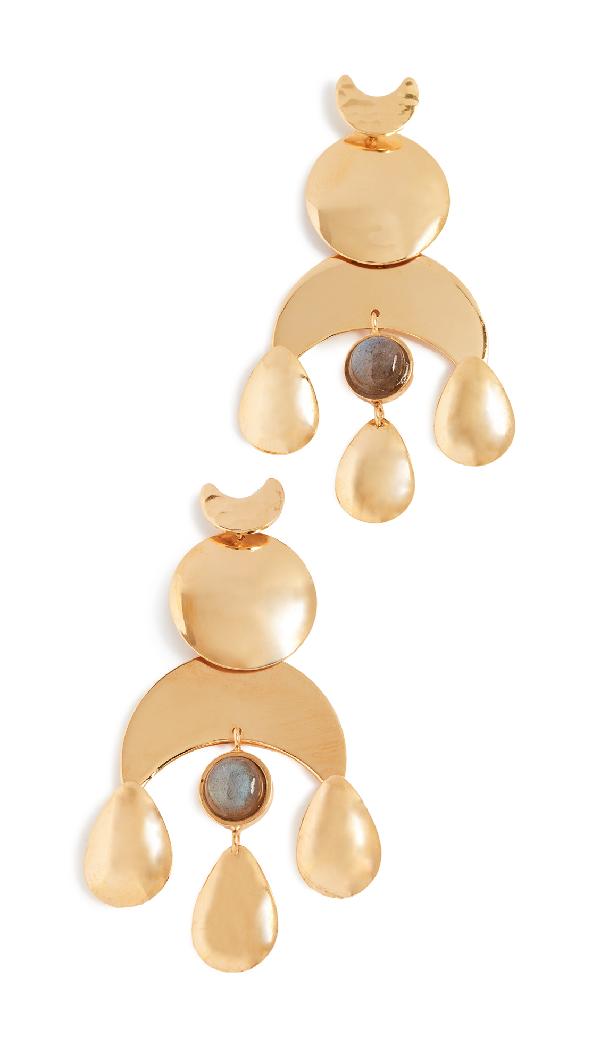 Lizzie Fortunato Buddha Earrings In Brass