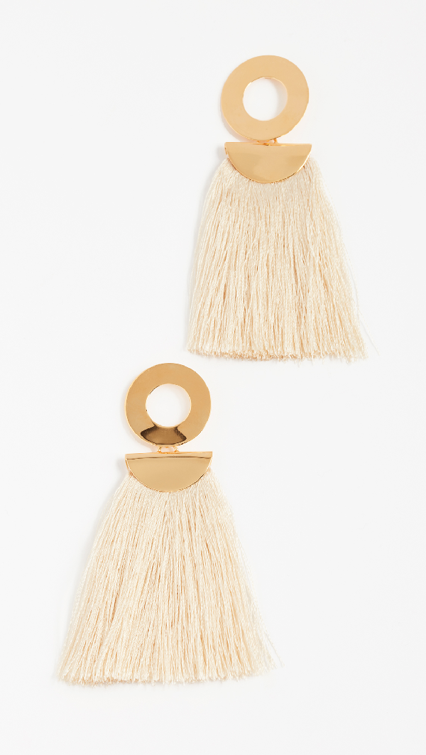 Lizzie Fortunato Go-go Crater Tassel Drop Earrings In Champagne