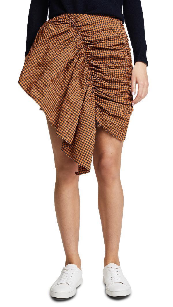 Marques' Almeida Marques ' Almeida Gathered Front Skirt In Checkered & Plaid,orange In Orange Gingham