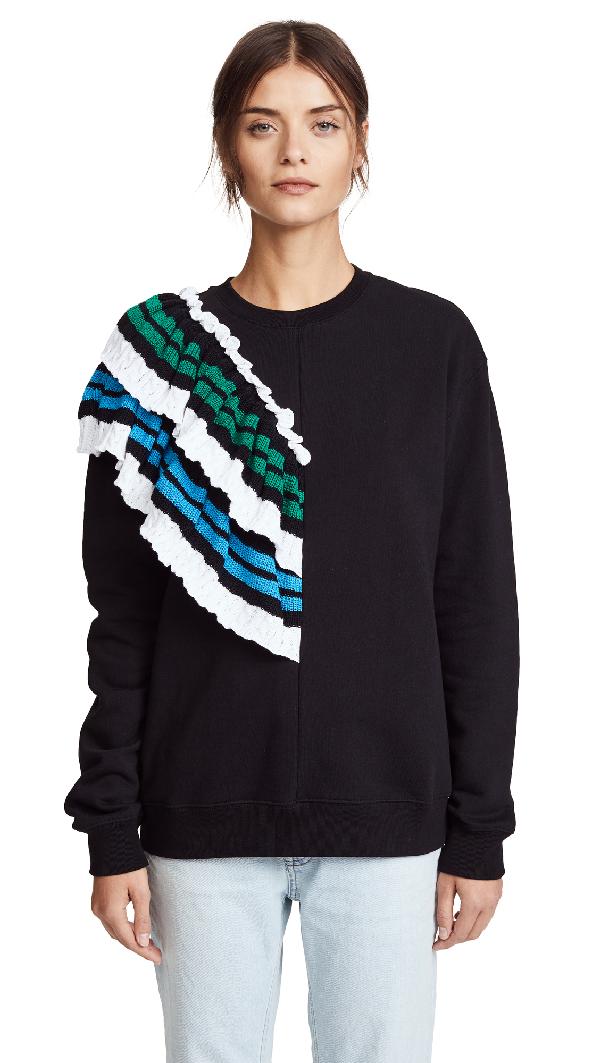 Msgm Sweatshirt With Crochet Detail In Black Multi
