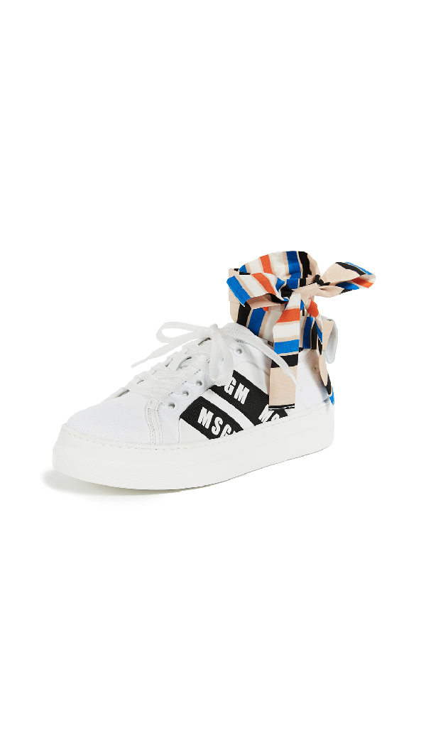 Msgm Ankle Knot Lace- Up Sneakers With Cup Sole In White/stripe