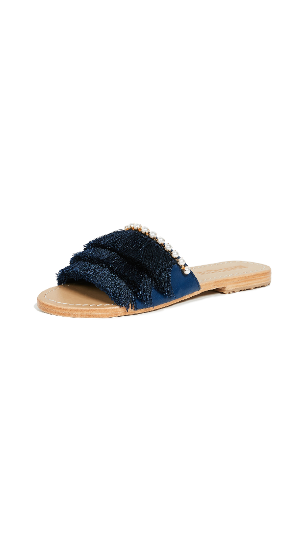 Mystique Fringe Slides With Imitation Pearls In Navy