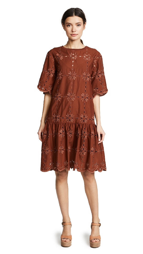 See By ChloÉ Broderie Dress In Mahogany