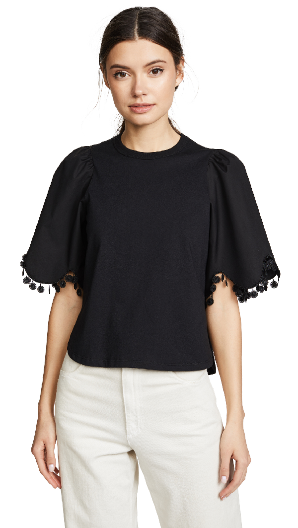 See By ChloÉ Embellished Tee With Sleeve Detail In Black