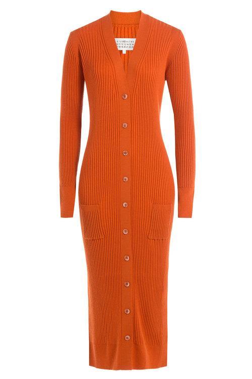 Maison Margiela Ribbed Wool Cardigan In Orange