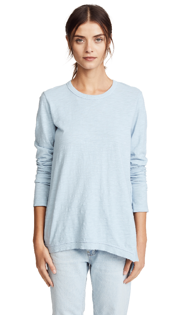 Wilt Asymmetrical Tunic Tee In Washed Blue
