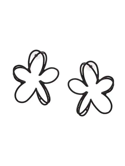 Oscar De La Renta Botanical Scribble Earrings - Black