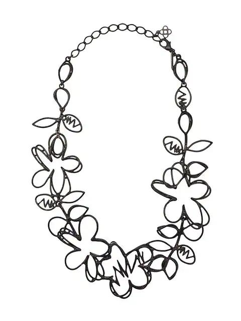 Oscar De La Renta Botanical Scribble Necklace - Black