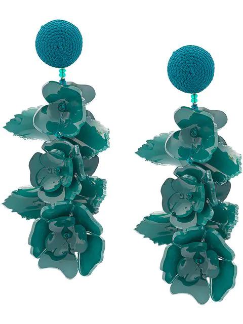 Oscar De La Renta Climbing Flower Earrings