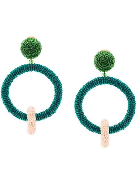 Oscar De La Renta Beaded Double Hoop Earrings