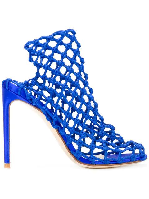 Francesco Russo Caged Heel Sandals In Blue